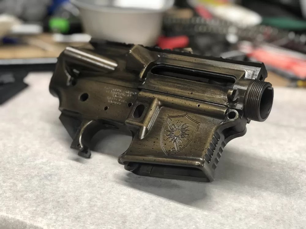 Badmoon Armory Cerakote job on an AR15 lower receiver for Breach-Bang-Clear Patreon supporters.