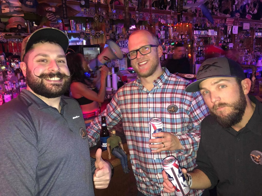 Ryan with Danny and Seth from Sasquatch Agency at the Hogs & Heifers veterans charity.