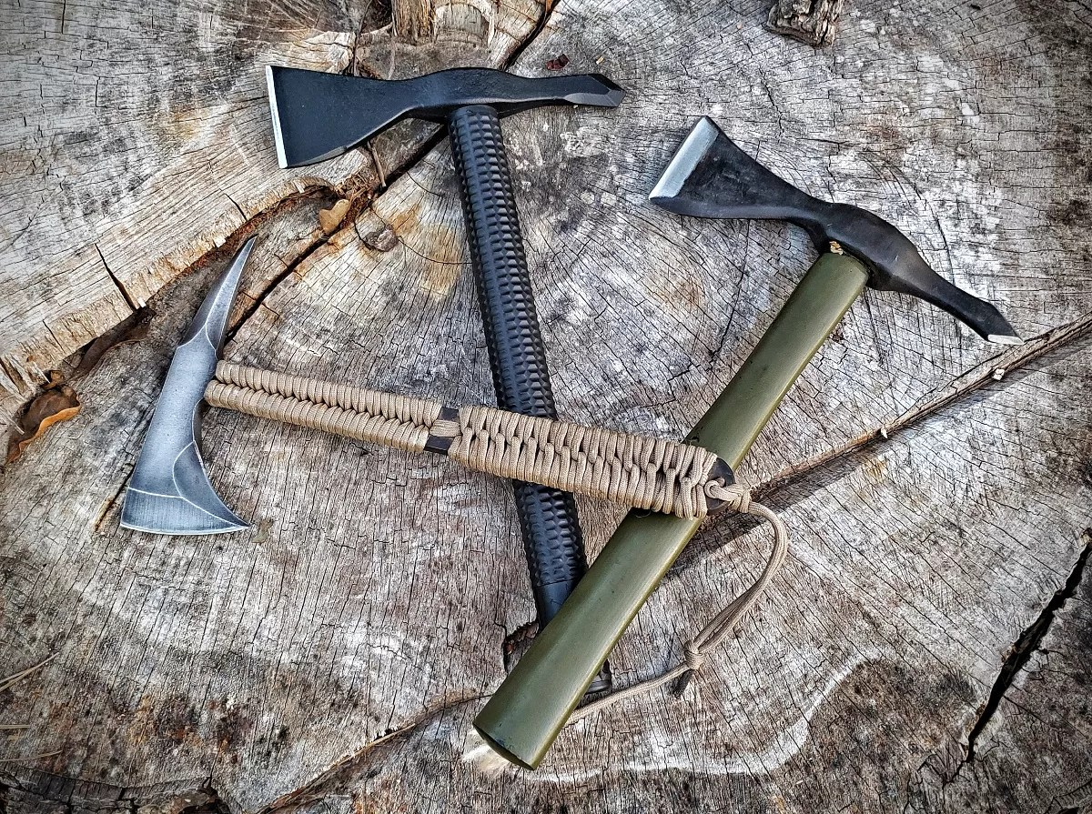 RMJ brings modern manufacturing to the classic Vietnam Tomahawk. Above: the RMJ Kestrel Feather, ATC Model 1, and Classic LaGana Hawk.