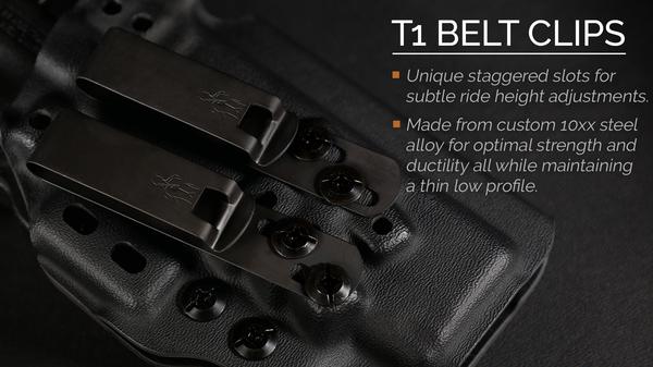 T1 Belt Clips on Tenicor's M&P Shield holster