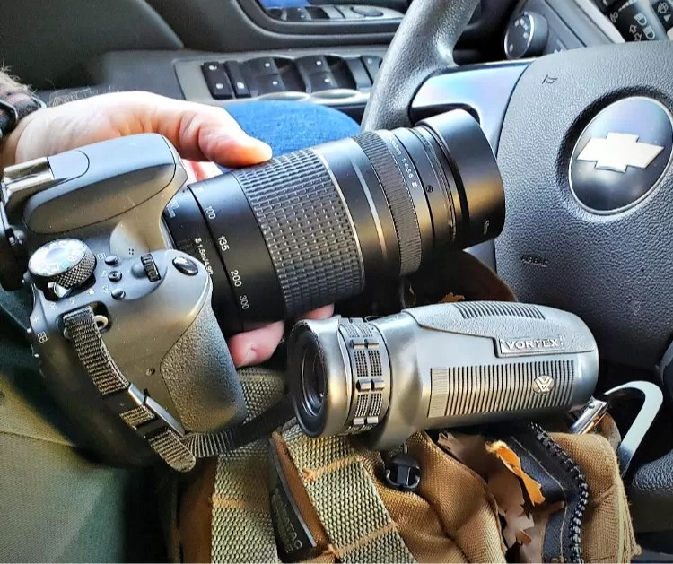 Bush uses the Vortex Solo and Canon T7i for surveillance investigations.