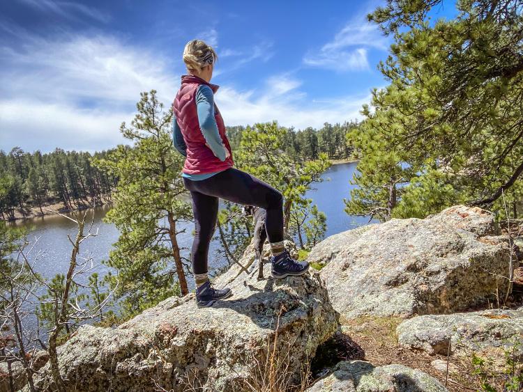 Lowa hiking boots rock climbing.
