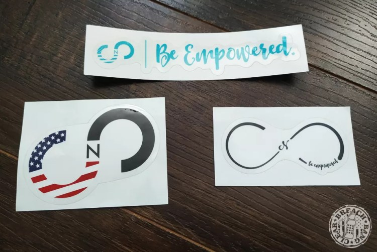 In every order you get a Curves N Combatboots sticker of some sort with their logo.
