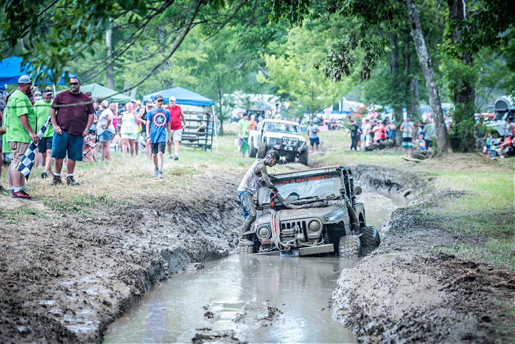 Jeep stuck in mud bog at Loretta Lynn Ranch, TrailJam 2020.