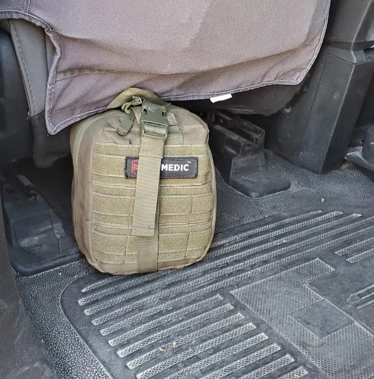 Paul's MyFAK First Aid kit from My Medic, in vehicle.