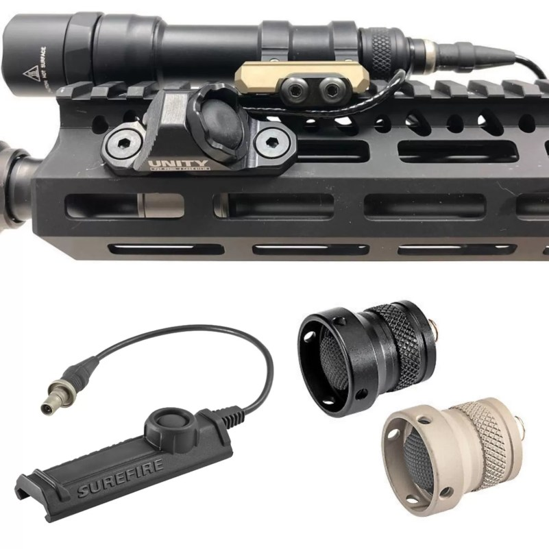 """The Unity HotButton, and the Surefire SR-07 Combo remote switch & Z68 """"clicky"""" tailcap on author's DARC-based HK416. This configuration helps control """"switchology"""" of MAWL and weapon light."""