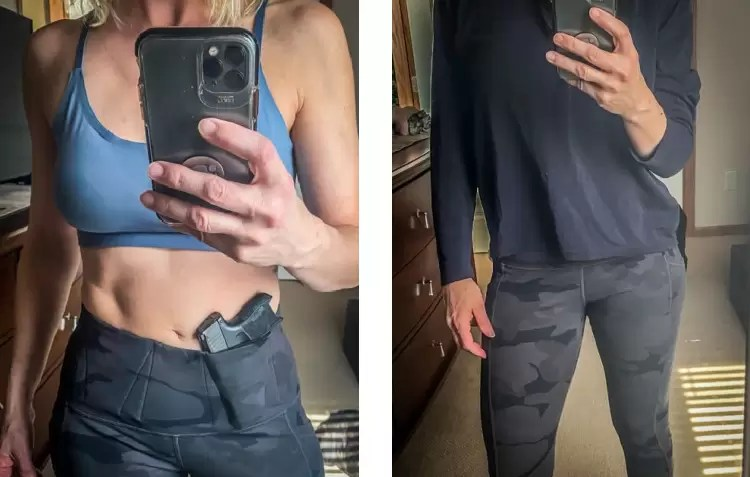 Primary Arms concealed carry legging with P365 holstered.