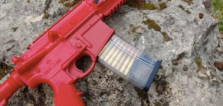 ASP H&K 416 red training gun with Lancer magazine.