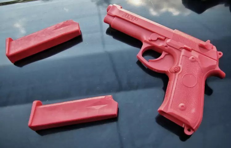 ASP Beretta M9 red gun with two magazines.