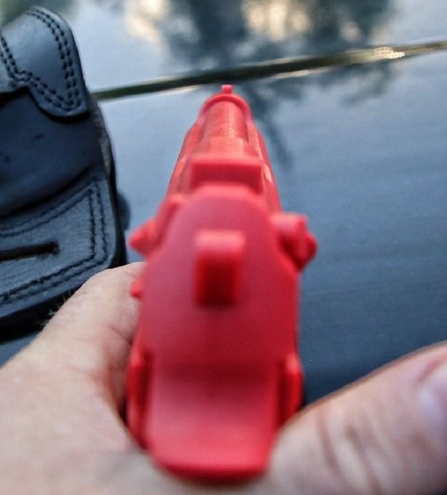 Beretta M9 red gun rear sight picture.