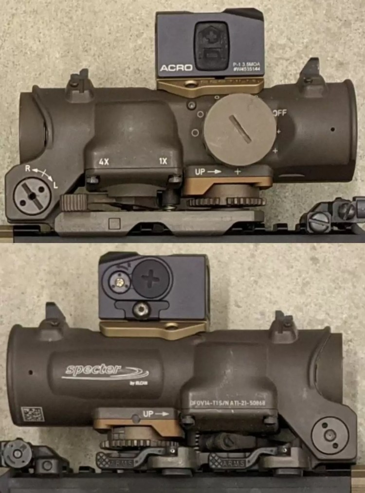 The Elcan and Acro mounted to an HK416