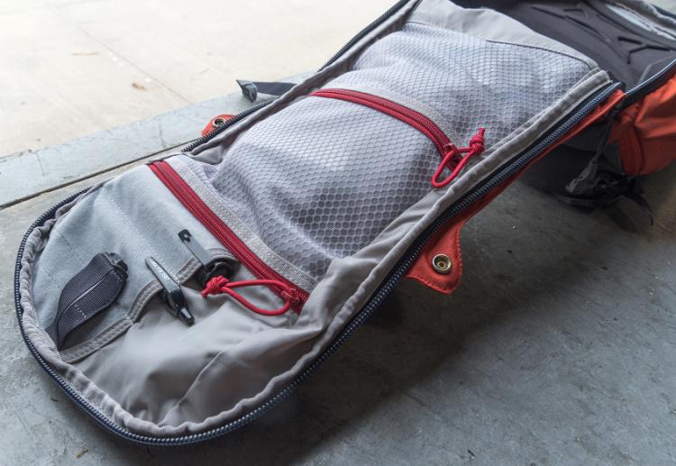Vertx Gamut EDC bag internal zippered pockets.