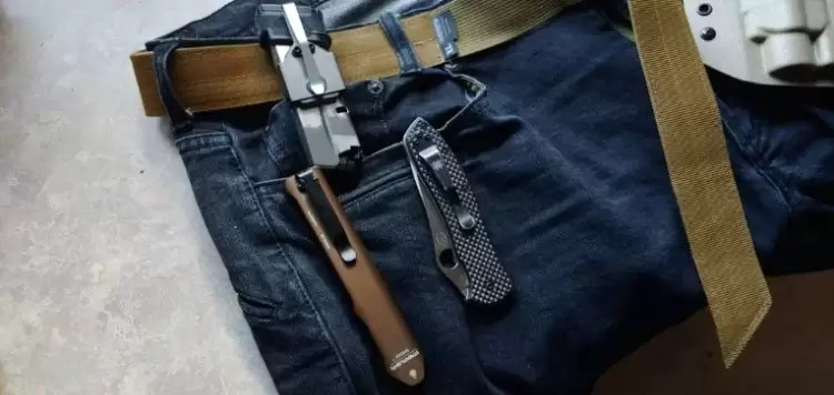 Viktos jeans with EDC gear in pockets.