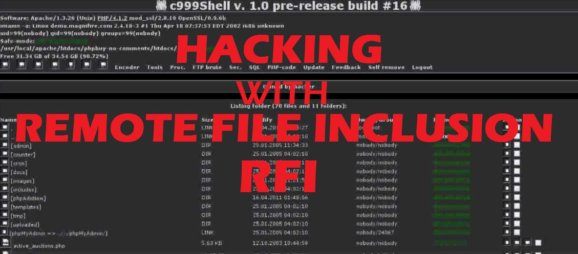How to deface a website using Remote File Inclusion (RFI)?