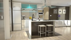 modern kitchen with Small dining table