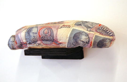 money wrapped bread