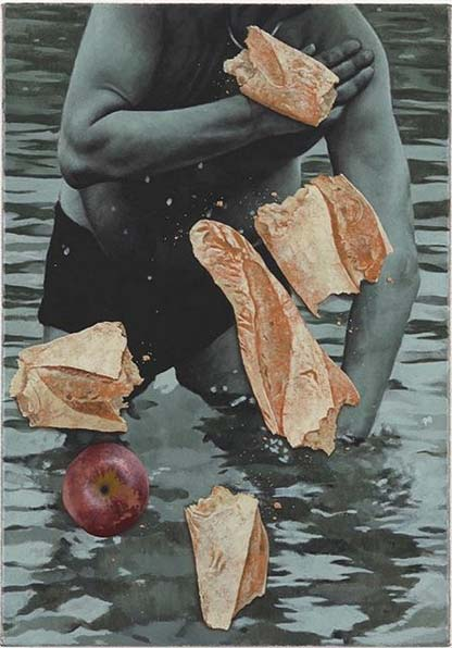 Man bathing with bread