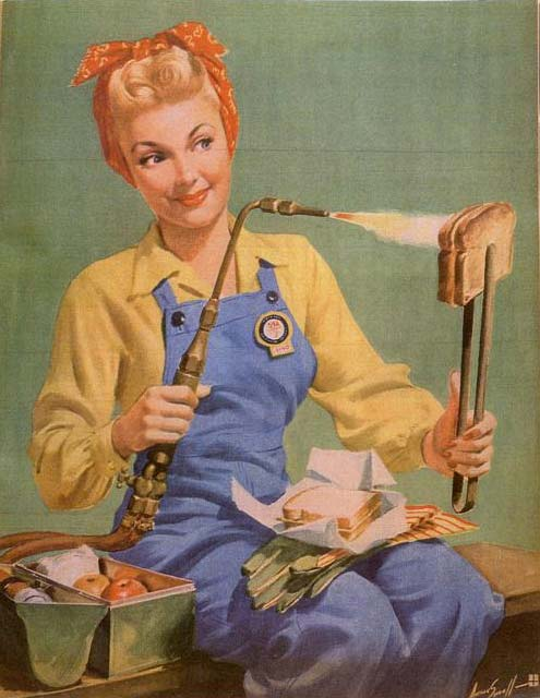 Girl toasting bread with a welding machine