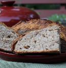 Sourdough Asiago Rosemary Spelt Bread baked in Emile Henry Bread Cloche