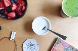 Matcha latte and siggi's