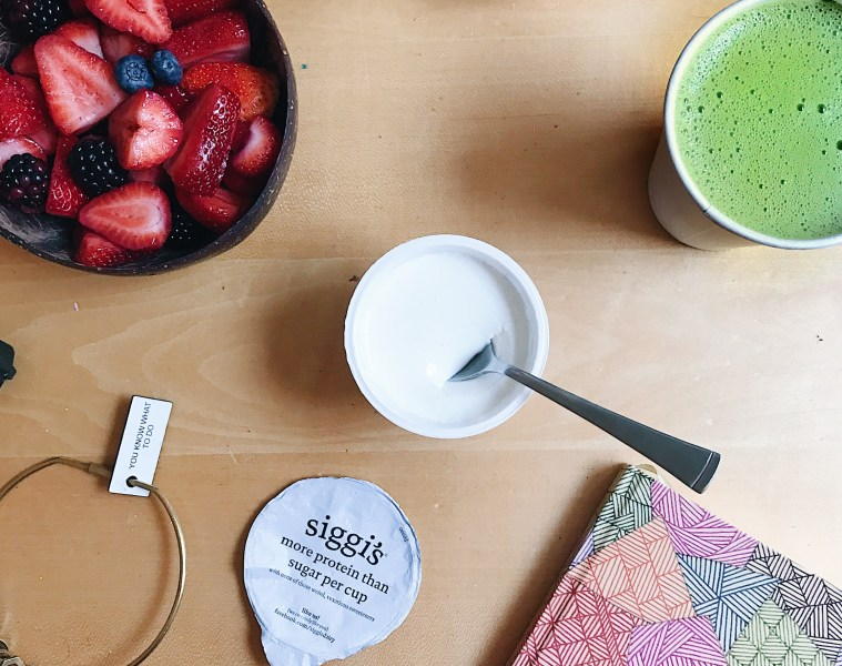 Matcha latte and siggi's