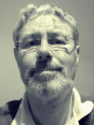 A monochrome photograph of Gary Allman, May 2008