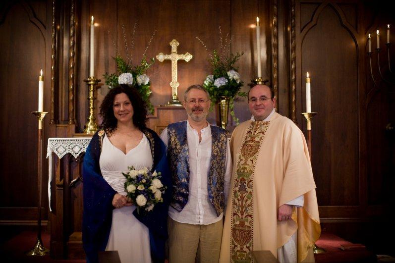 Ginger & Gary Allman and the Reverend Jonathan Frazier, Christ Episcopal Church, Springfield Missouri