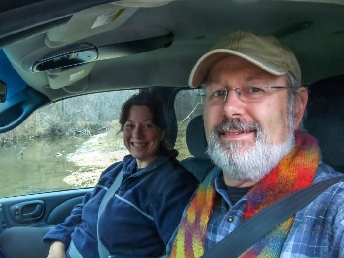 Ginger & Gary stopped on the slab bridge over Little North Fork