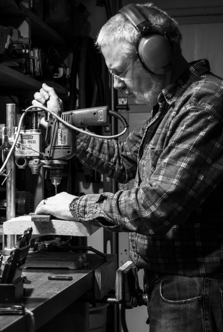 Drilling in the workshop (365: 28). Copyright © 2011 Gary Allman, all rights reserved.