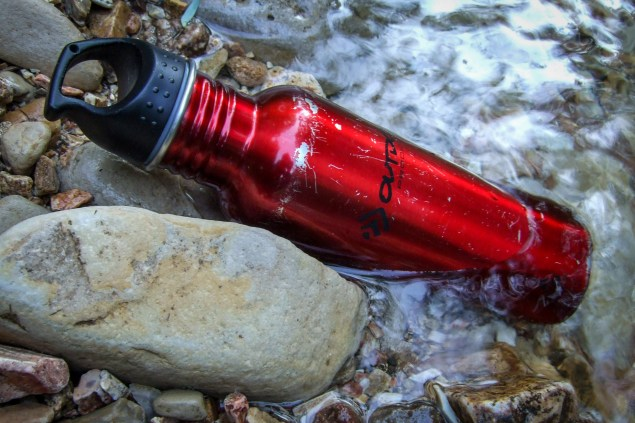 Having filtered some more water, I put my water bottle in the creek to keep it cool.
