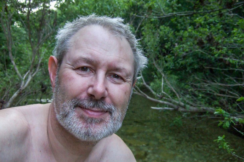 A nice refreshing, freezing cold dip in the creek. Just the thing after a hot day.