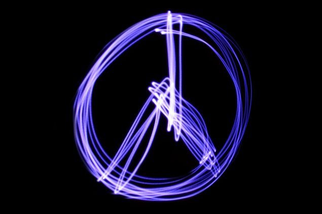 Peace symbol made by light painting