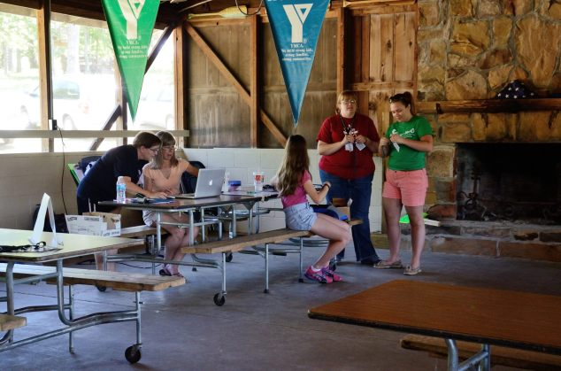 Camp WeMo at Wakonda - preparing the personal IDs for the new arrivals