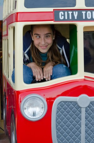 Lanie gets to ride in a double-decker bus... Copyright © 2014 Gary Allman, all rights reserved.