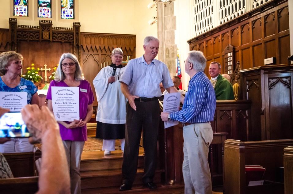 EFM Mentors John Svagera and Meg Hanna present EFM Graduation Certificates to Marsha Patterson, Barbara Worman, and Gary Allman. June 7, 2015 | Copyright © 2015 Ginger Davis Allman, all rights reserved