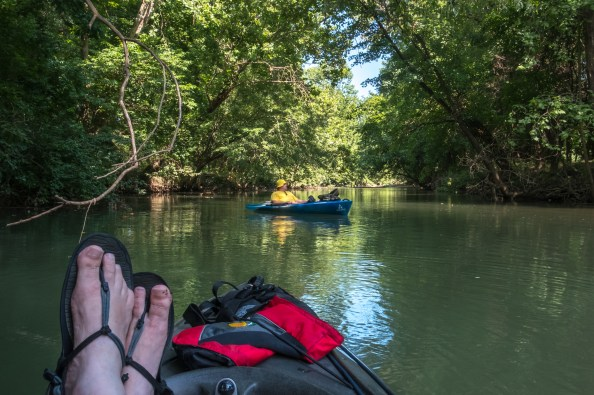 Feet Up, Taking a Break While Kayaking