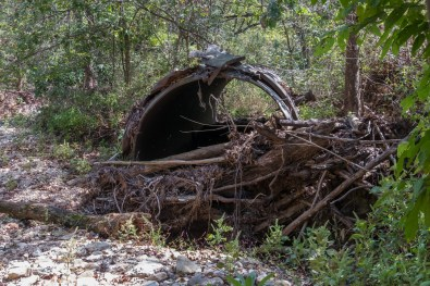 Busiek State Forest and Wildlife Area. An old liquid nitrogen tanker culvert on the Orange Trail. The culvert washed out quite quickly after it was installed in the seventies. October 1, 2016   www.ozarkswalkabout.com   Copyright © Gary Allman, all rights reserved