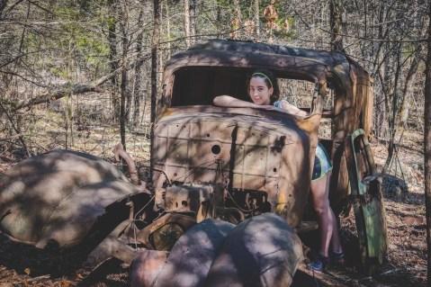 """Lanie in the 1930s Dodge """"Humpback"""" Panel Van at Busiek"""