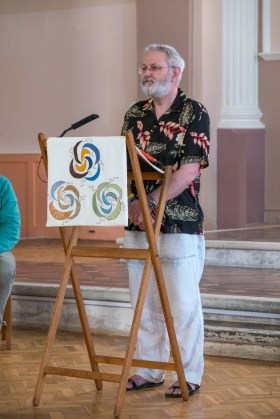 Photograph of gary Allman rehearsing for his reading at his sister's wedding