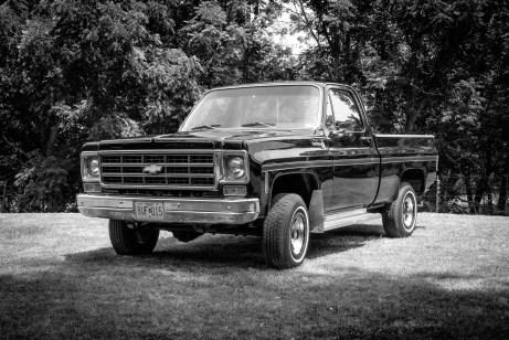 "Black and white photograph of a short wheelbase, 400"" block, 1978 Chevrolet Scottsdale Pickup"