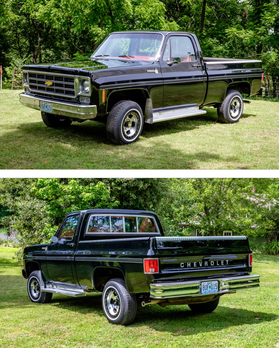 """Jim's short wheelbase, 400"""" block, 1978 Chevrolet Scottsdale Pickup, just back from the shop after a new paint job. Copyright © 2017 Gary Allman, all rights reserved."""