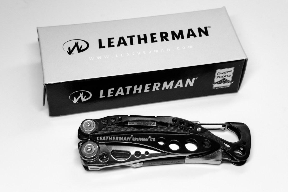 Leatherman Skeletool CX multi tool with original box (Black and white photograph)
