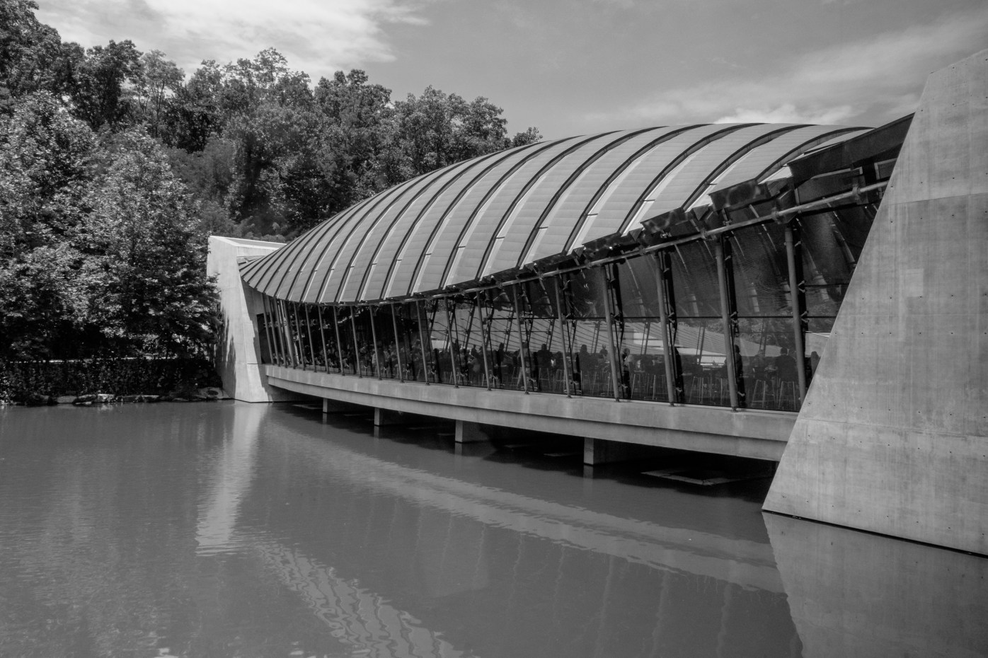 Black and White photograph. Architecture - Crystal Bridges Museum of American Art