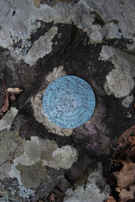 A survey marker at the summit of Bell Mountain Wilderness. Oddly, this was the second marker that I found, this one seemed to be a few feet higher than the other one.