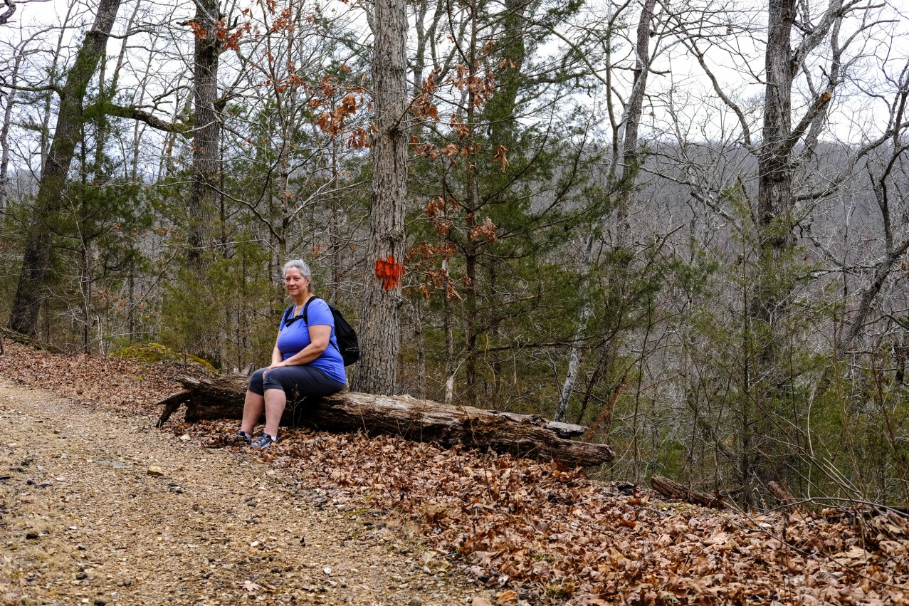 Ginger waiting for Gary before the main climb on the Busiek Orange Trail. Copyright © 2018 Gary Allman, all rights reserved.