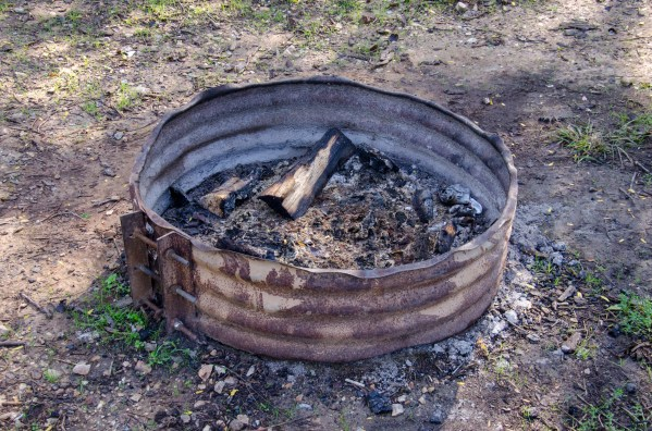 The fire rings at Busiek are quite primitive and don't include a grill.