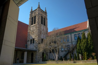 Cathedral Bell tower seen from the courtyard outside Founders' Hall. Copyright © 2018 Gary Allman, all rights reserved.