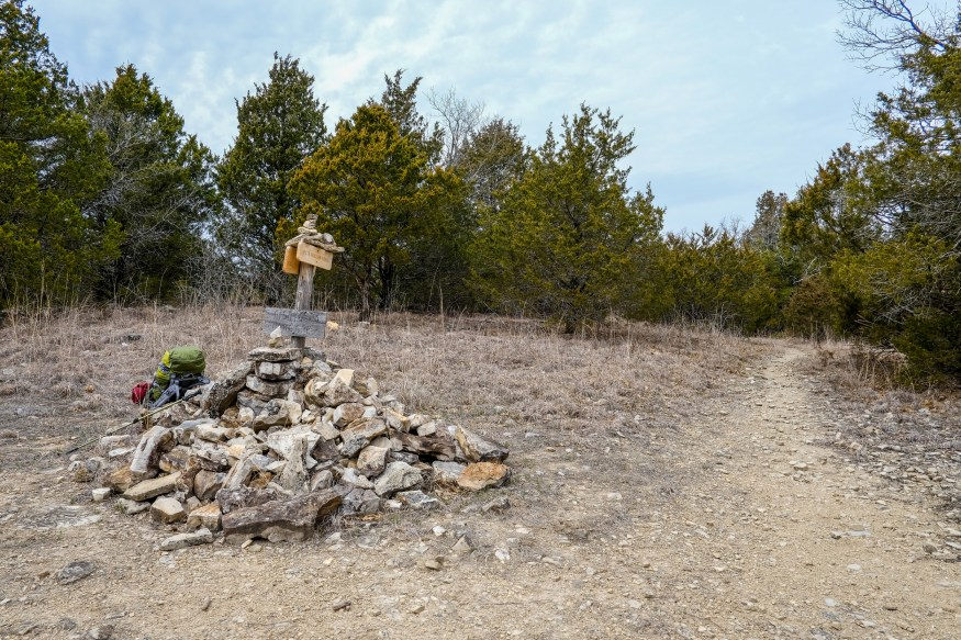 Cairn marking the junction of the Tower and Pete Hollow trails at Hercules Glades Wilderness. On this trip I took the Pete Hollow Trail down to Long Creek. Copyright © 2018 Gary Allman, all rights reserved.