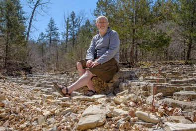 Gary modestly posing at the confluence of Brushy Creek and 'Cab Creek'.