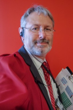 Picture of Gary Allman getting ready for graduations in 2008.